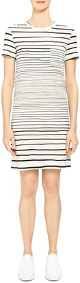 Theory Continuous Stripe Pocket T-Shirt Dress