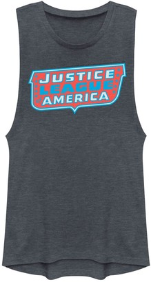 Licensed Character Juniors' DC Comics Justice League of America Logo Muscle Graphic Tank