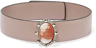 Valentino Leather, Gold-tone, Crystal And Stone Choker