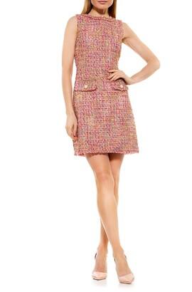 Alexia Admor Klara Metallic Tweed Sleeveless Sheath Dress