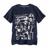 Carter's Boys Graphic Short Sleeve Navy Firetruck T-Shirt-Preschool