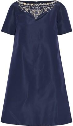 Oscar de la Renta Crystal And Bead-embellished Silk-faille Mini Dress