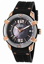 Elini Barokas Women's 'Spirit' Swiss Quartz Stainless Steel and Silicone Watch, Color:Black (Model: 20005-RG-01-SRB)