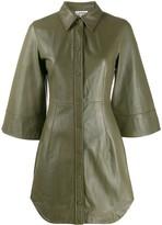 Ganni leather mini shirt dress