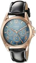 August Steiner Women's AS8191BKR Rose Gold Multifunction Quartz Watch with Blue Dial and Green Leather Strap