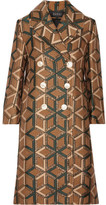 Gucci Double-breasted Metallic Jacquard Coat - Brown