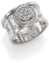 Gucci Icon Twirl Diamond & 18K White Gold Medium Band Ring