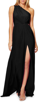 Ramy Brook Linley One-Shoulder Twist-Front Dress with Slit & Cutout