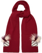Fendi Monster Eyes fur-trimmed wool scarf