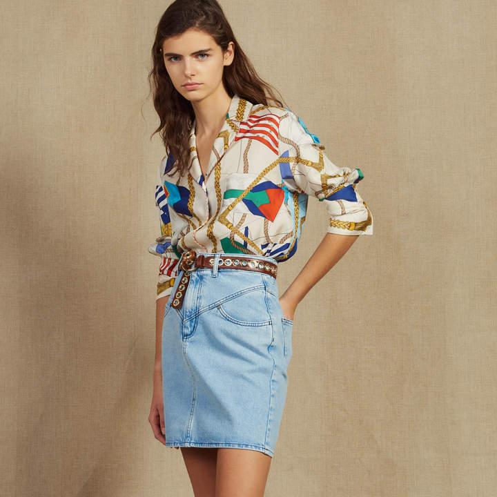 Short denim skirt with topstitching