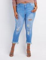 Charlotte Russe Plus Size Frayed Hem Destroyed Skinny Jeans