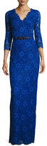 Rickie Freeman For Teri Jon 3/4-Sleeve Floral Lace Column Gown, Royal