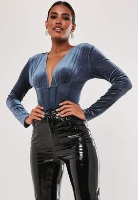Missguided Blue Velvet Corset Detail Bodysuit