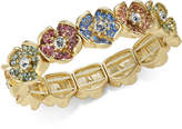 Charter Club Gold-Tone Multicolor Pave Flower Stretch Bracelet, Created for Macy's