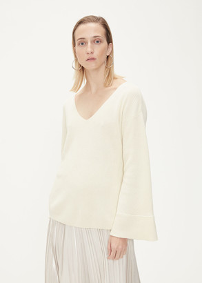 Dusan Women's Low Cut Sweater in Off White Size Small Cashmere/Silk