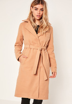 Missguided Camel Belted Tailored Faux Wool Coat