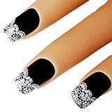 Bhbuy 2 Sheets Sweet Nice White Lace 3D Nail Art Stickers Adhesive Decals Decoration