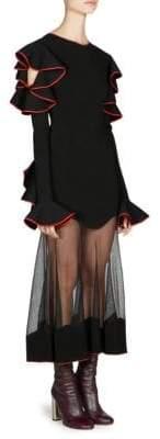 Alexander McQueen Ruffled Drop-Hem Midi Dress