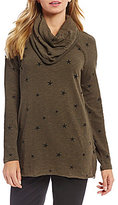 Westbound Petite Long Sleeve Cowl Neck Swing Top