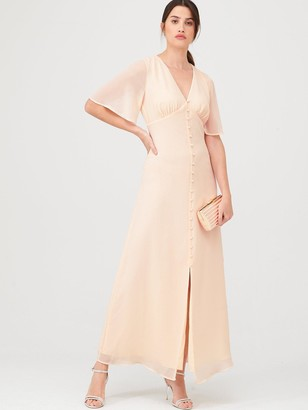 Warehouse Angel Sleeve Button Front Maxi Dress - Blush