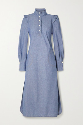 ANNA MASON Agnes Ruffled Cotton-chambray Shirt Dress - Blue