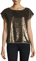 Joie Marania Sequin-Embellished Blouse, Antique Brass