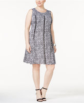 NY Collection Plus Size Fit & Flare Piping Dress