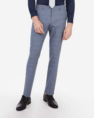 Express Slim Plaid Wrinkle-Resistant Stretch Suit Pant
