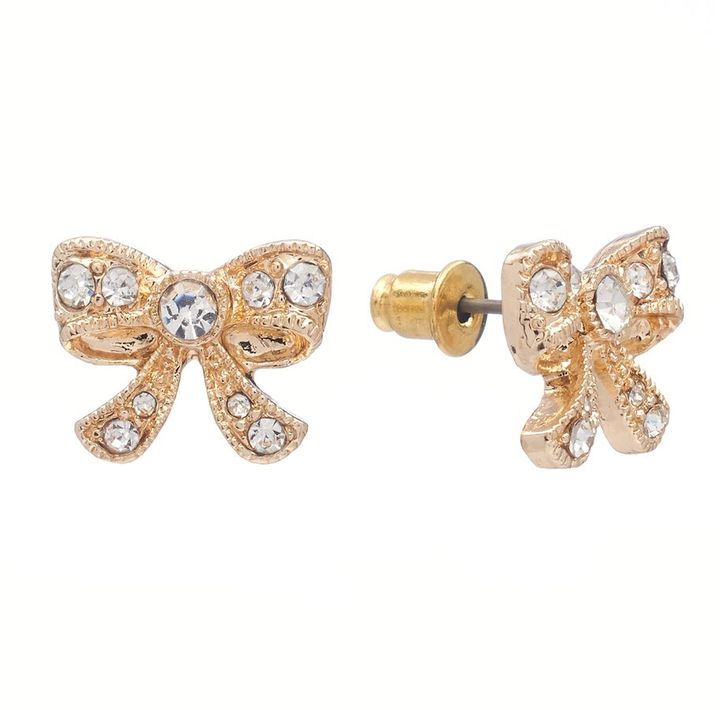 Lauren Conrad gold tone simulated crystal bow stud earrings