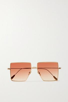 KALEOS Oversized Square-frame Gold-tone Sunglasses