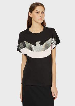 Emporio Armani Jersey T-Shirt With Satin Eagle And Sequins