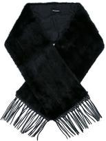 Yves Salomon fringed edge oversized scarf - women - Mink Fur/Lamb Skin/Silk - One Size