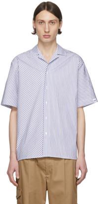 MSGM White and Navy Stripe Shirt