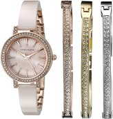 Anne Klein Women's AK/2180BLST Swarovski Crystal Accented Rose Gold-Tone and Blush Ceramic Bangle Watch and Bracelet Set