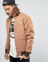 New Era Crafted Faux Suede Bomber Jacket