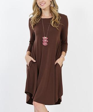 Lydiane Women's Casual Dresses BROWN - Brown Crewneck Three-Quarter Sleeve Curved-Hem Pocket Tunic Dress - Women