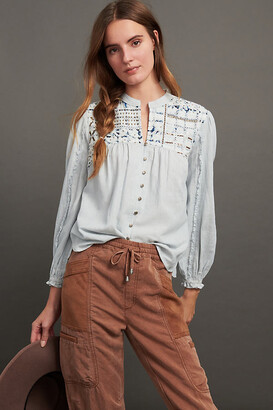 Pilcro And The Letterpress Pilcro Jenna Embroidered Buttondown By in Blue Size XS