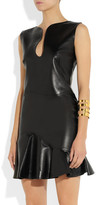 Alexander McQueen Leather flounce-hem mini dress