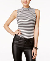 Material Girl Juniors' Embellished Striped Bodysuit, Only at Macy's