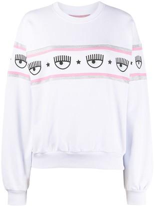 Chiara Ferragni Logo Trim Print Sweatshirt