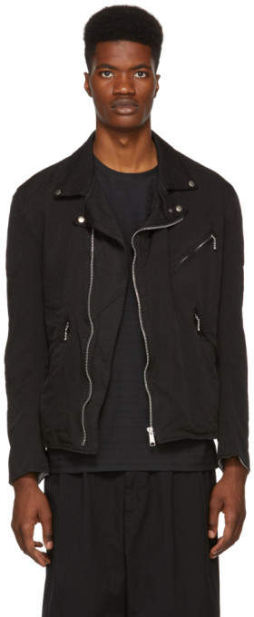 Comme des Garcons Homme Homme Black Twill Motorcycle Jacket