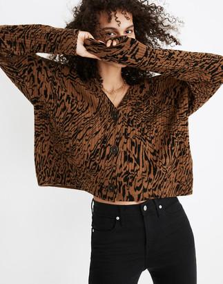 Madewell Tigerized Cameron Ribbed Cardigan Sweater in Coziest Yarn