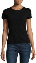 Neiman Marcus Cashmere Short-Sleeve Pullover Top, Black