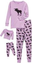 Lilac Moose Pajama Set & Doll Outfit - Girls