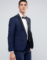 French Connection Textured Navy Tuxedo Slim Fit Suit Jacket