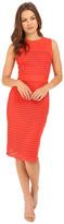 Christin Michaels Nea Sleeveless Dress with Mesh Detail