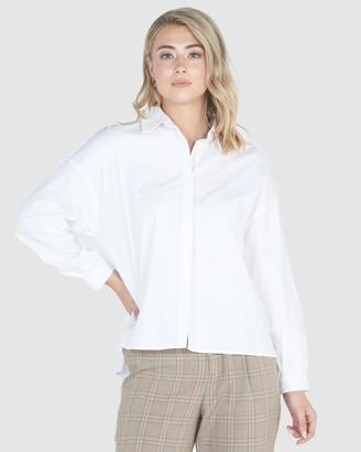 Privilege Oversized Curve Hem Shirt