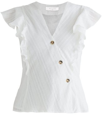 Paisie Fairlight Frill Wrap Top In White