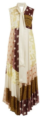 Golden Goose Daisy Neck Tie Patchwork Maxi Dress - Womens - Multi