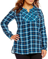 Westbound Plus Long Sleeve Embroidered Pullover Printed Top